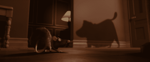 The shadow of the dog from Up appeared in Ratatouille.