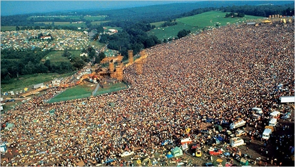 One of the 3 epic historical parties is Woodstock 1969, photographed here.