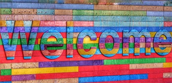 Colored welcome signboard