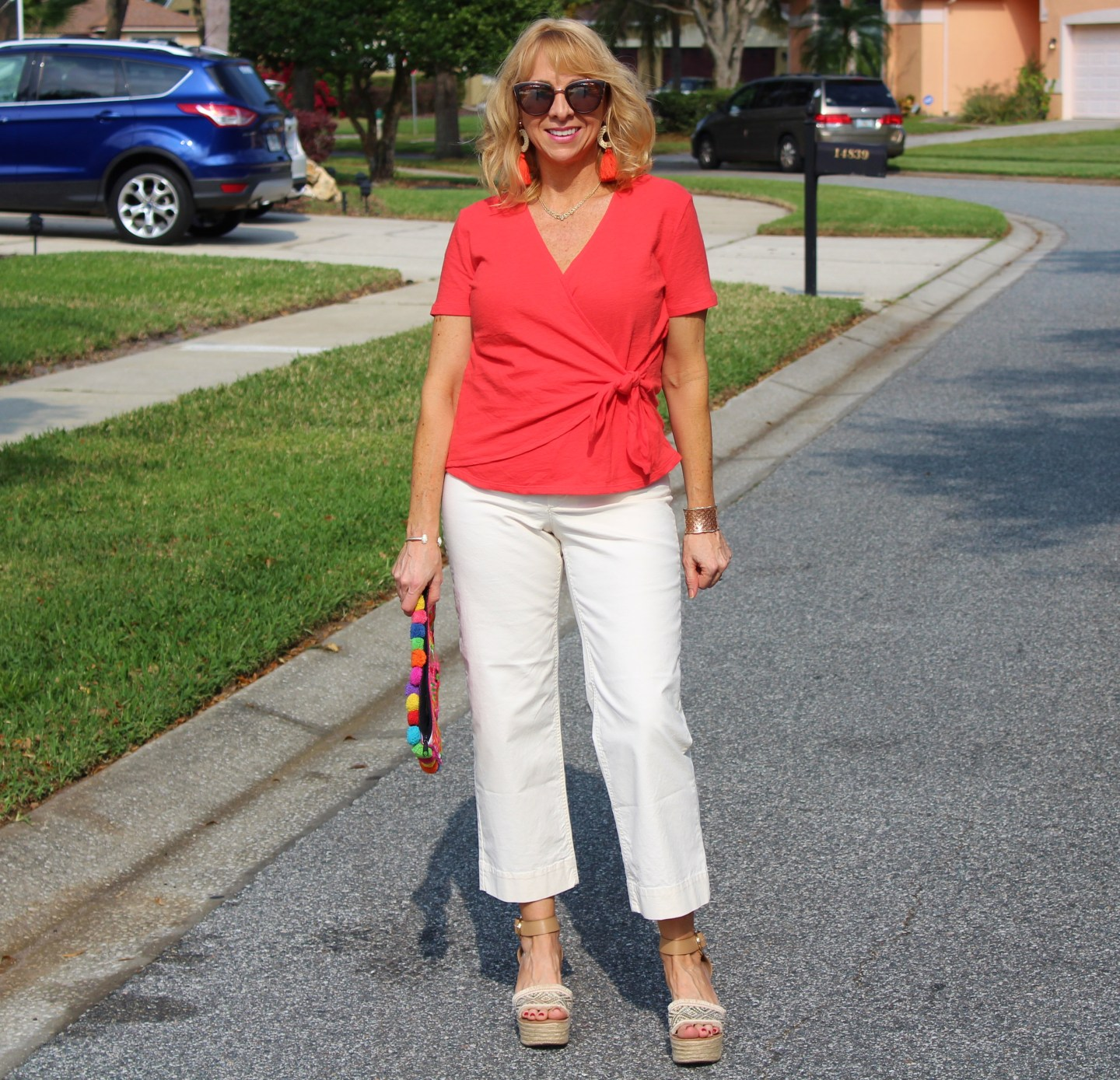 Living Coral Wrap Top and Wide Leg Cropped Pants