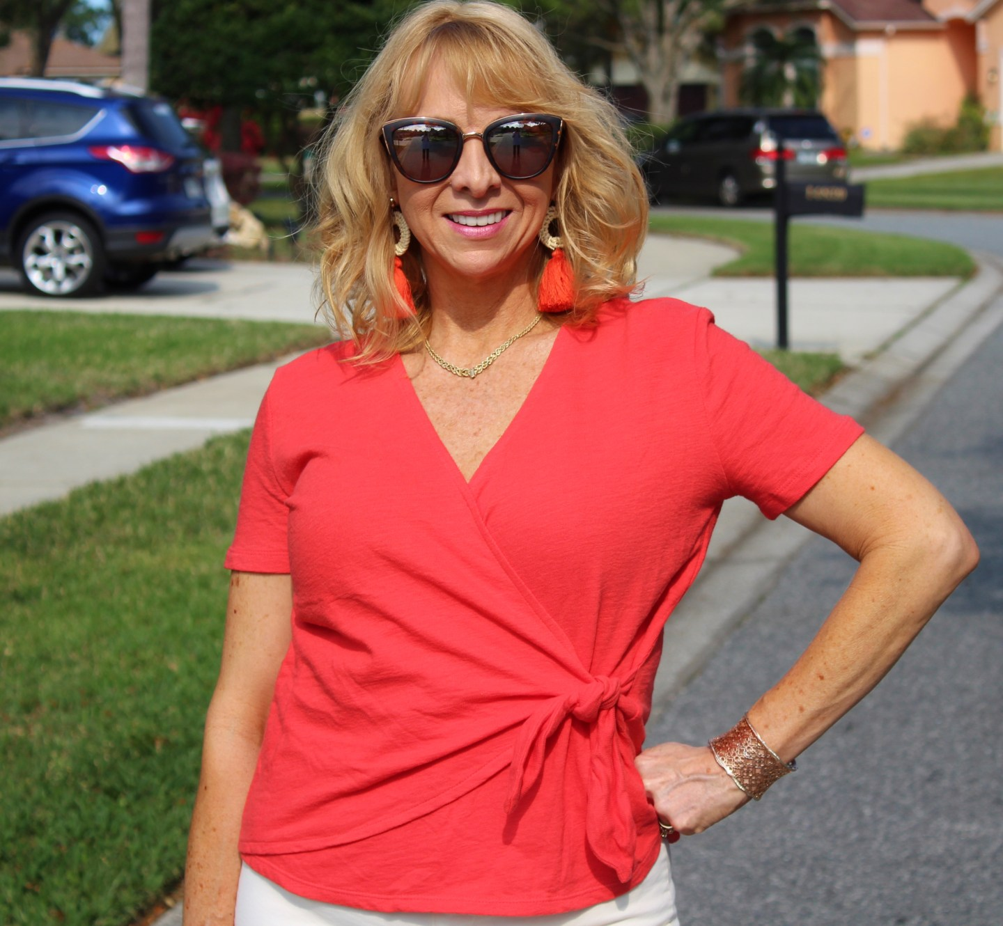 Living Coral Wrap Top