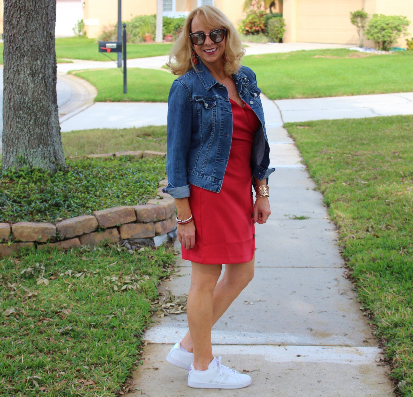 #Red Dress with Denim Jacket