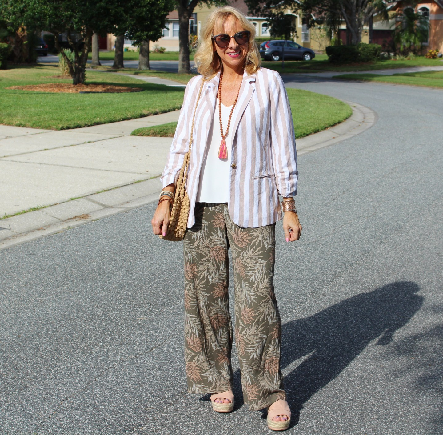 Wide leg pants and striped jacket
