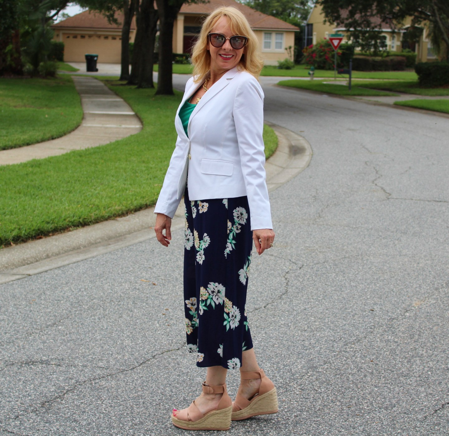 White Blazer and Floral Wide Leg Pant