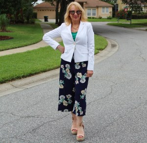 White Blazer and Floral Wide Leg Pants