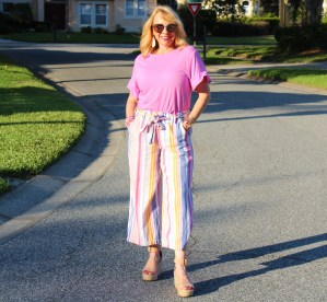 Striped Pants and Pink Tee