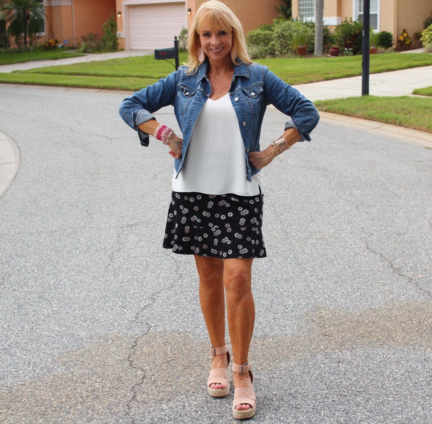 Loft skirt, cami, denim jacket, wedges