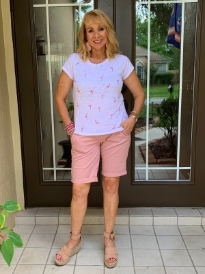 Flamingo Tee and Bermuda Shorts