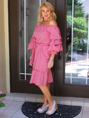 Red Gingham OTS Dress