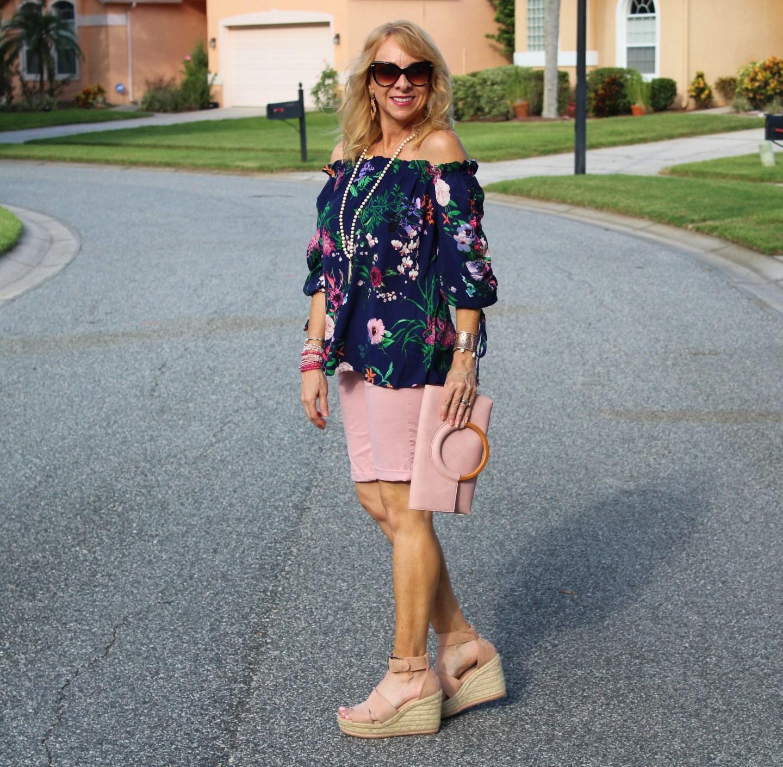 Fashom OTS top + Loft Pink Shorts