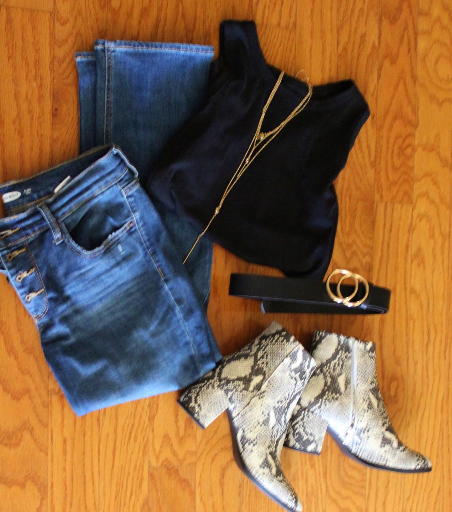 snakeskin booties + jeans