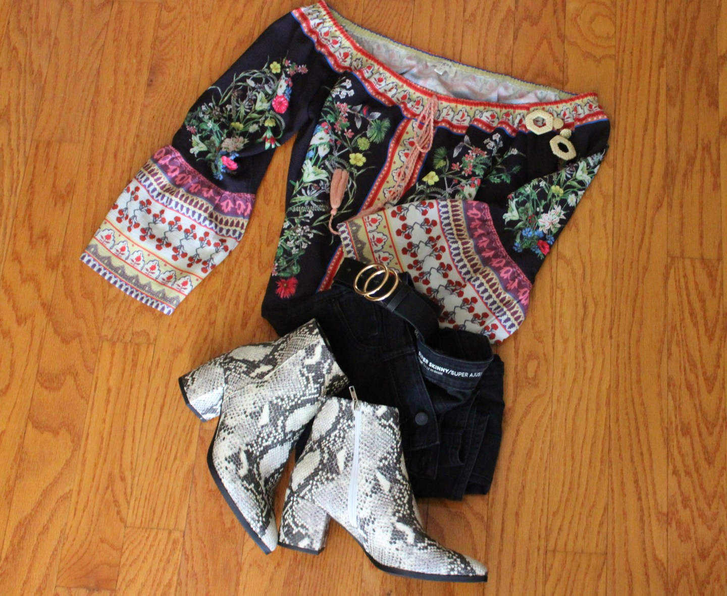 snake skin booties + OTS top