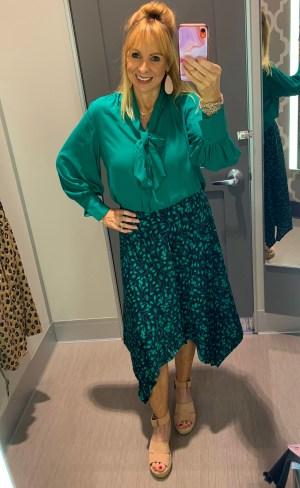 Green Tie Blouse + Printed Skirt