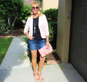 Pink Blazer + Denim Shorts