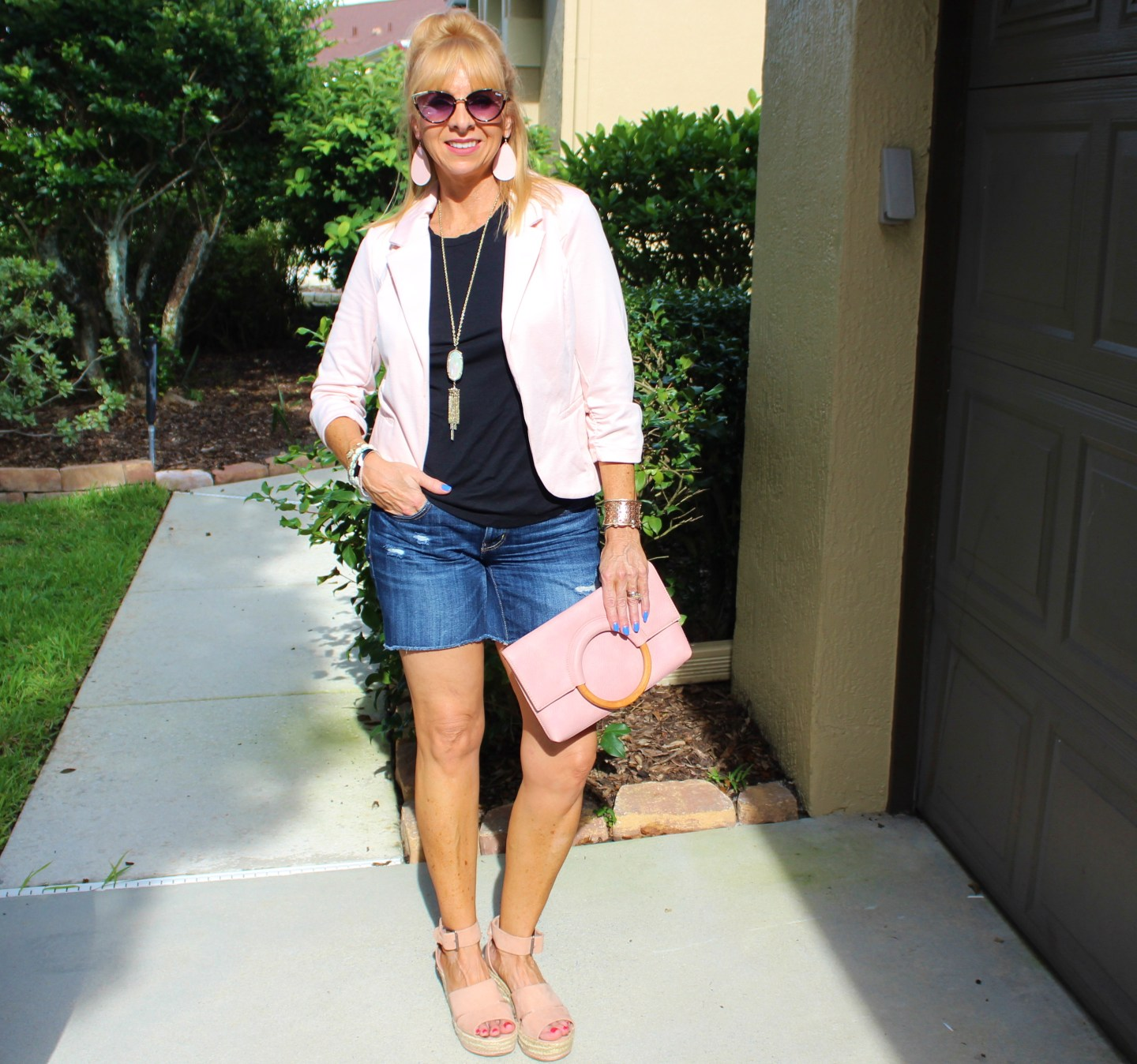 Pink Blazer + Denim Shorts