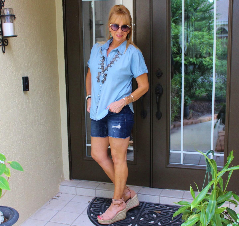 Chambray Shirt + Denim Shorts