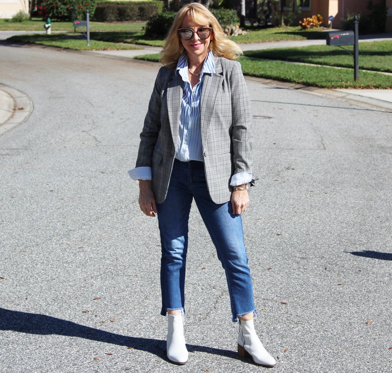 Plaid Boyfriend Blazer + Jeans + White Boots
