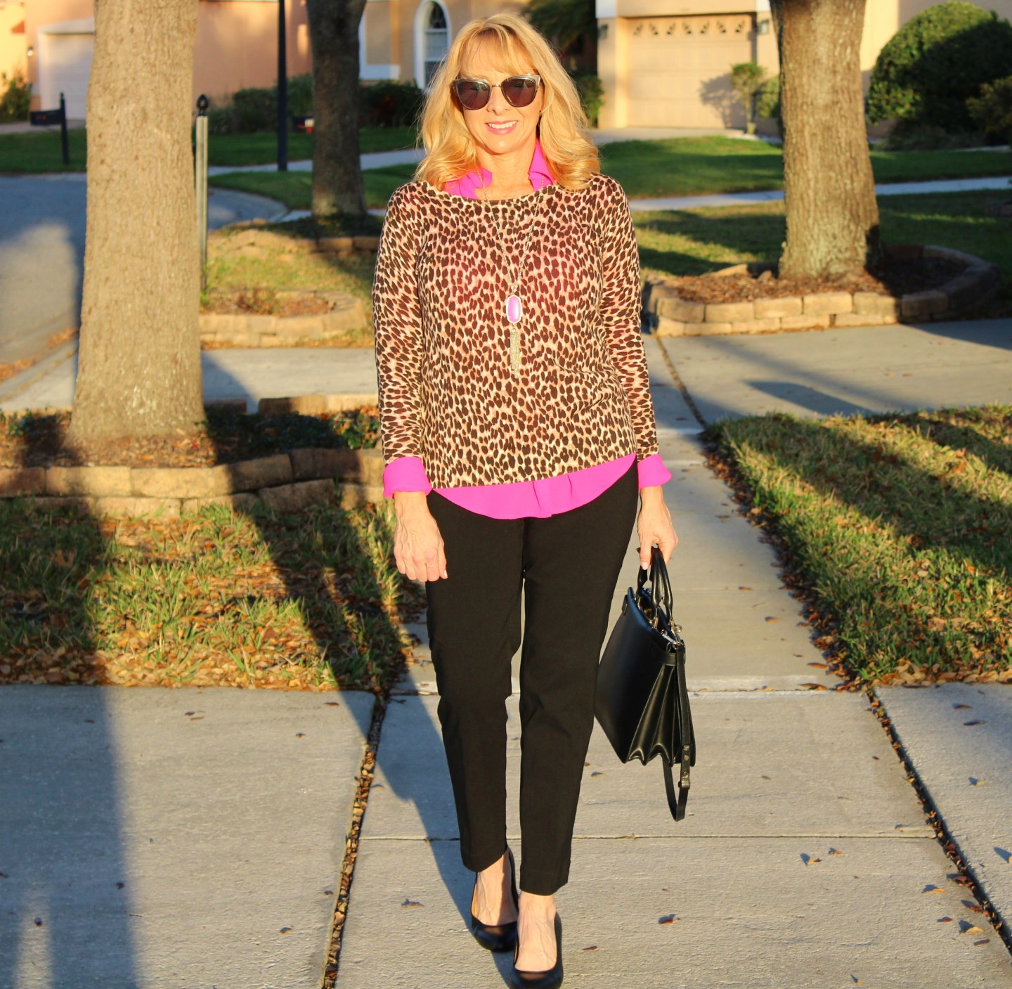 Leopard Print Sweater + Hot Pink Blouse + Black Pants