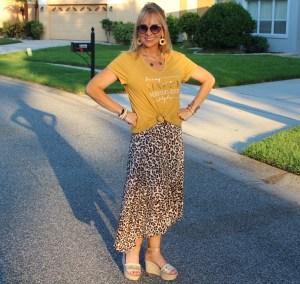 Leopard skirt + Graphic tee