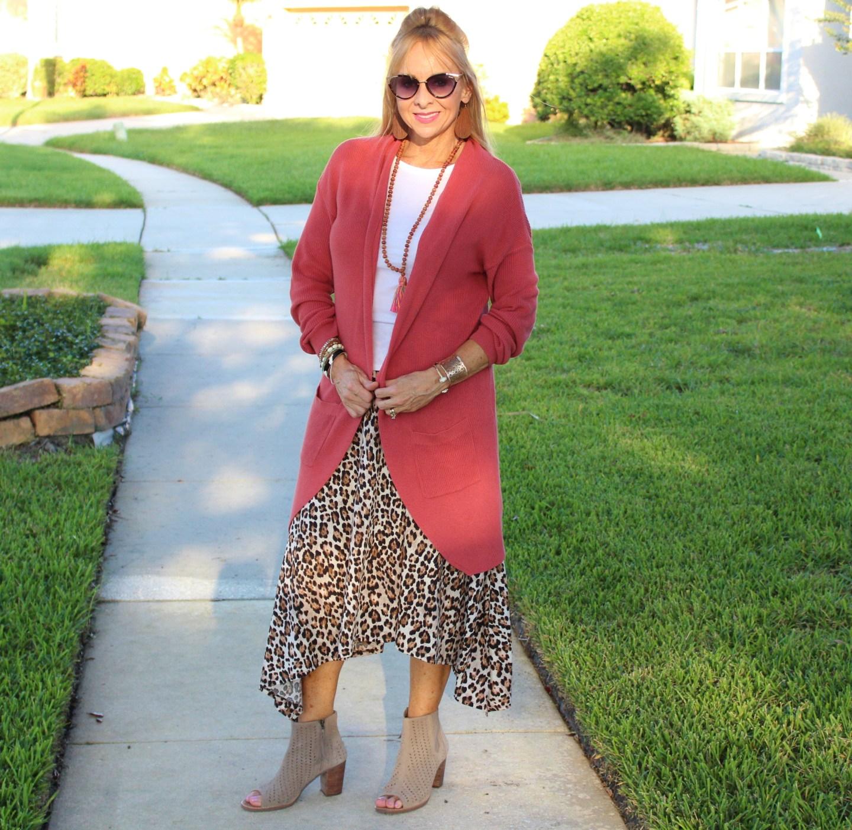 Leopard skirt + Long Cardigan