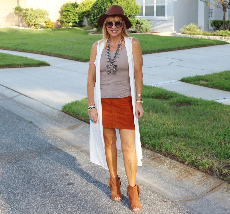 Corduroy skirt + Long Vest