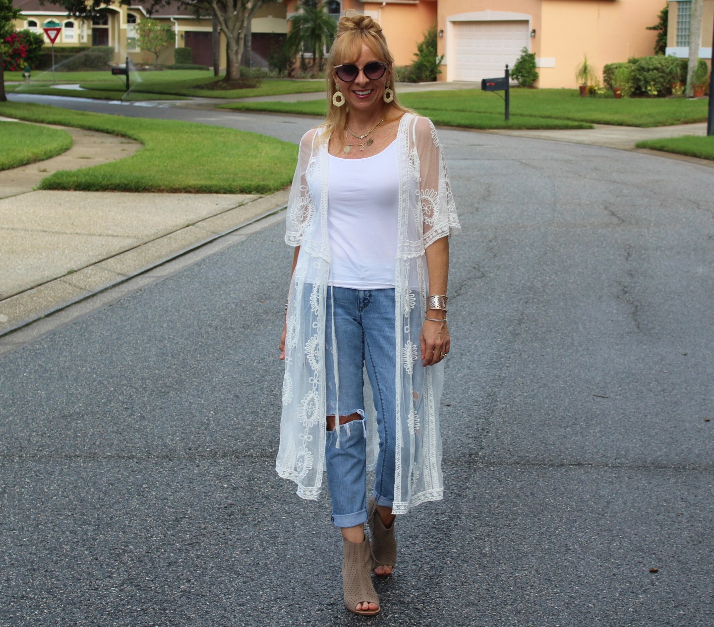 Lace Duster + Distressed Denim