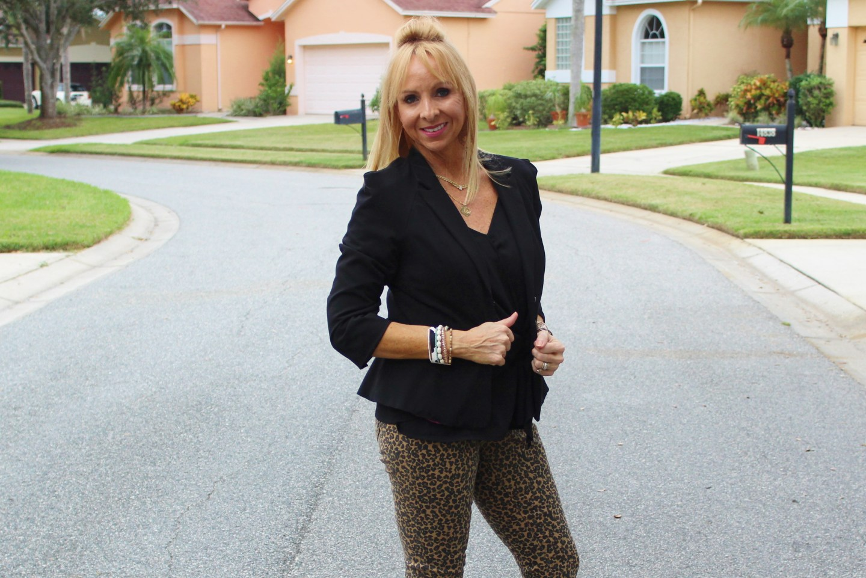 Cami + Leopard Jeans + Jacket