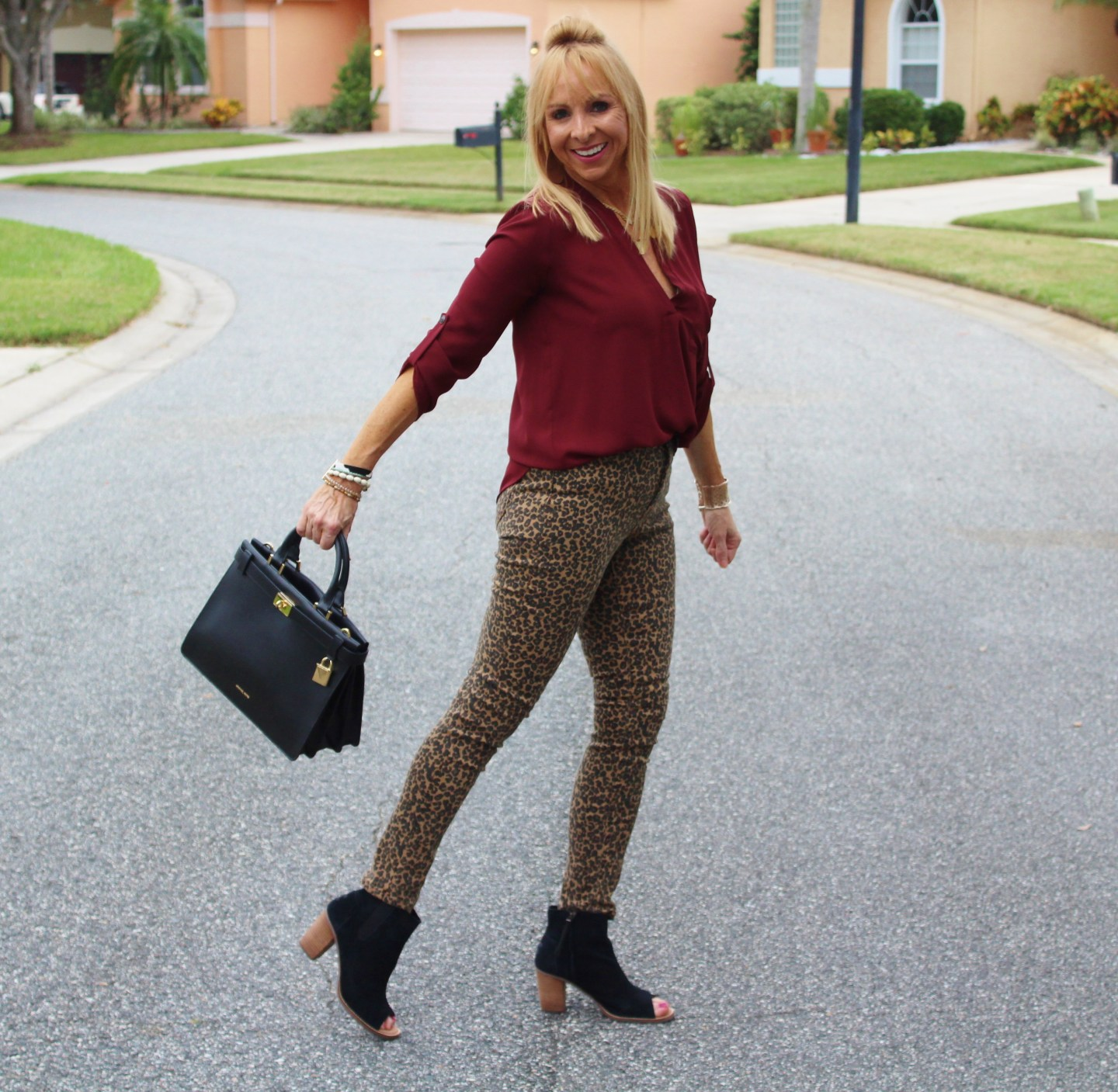 Leopard jeans + Burgundy top