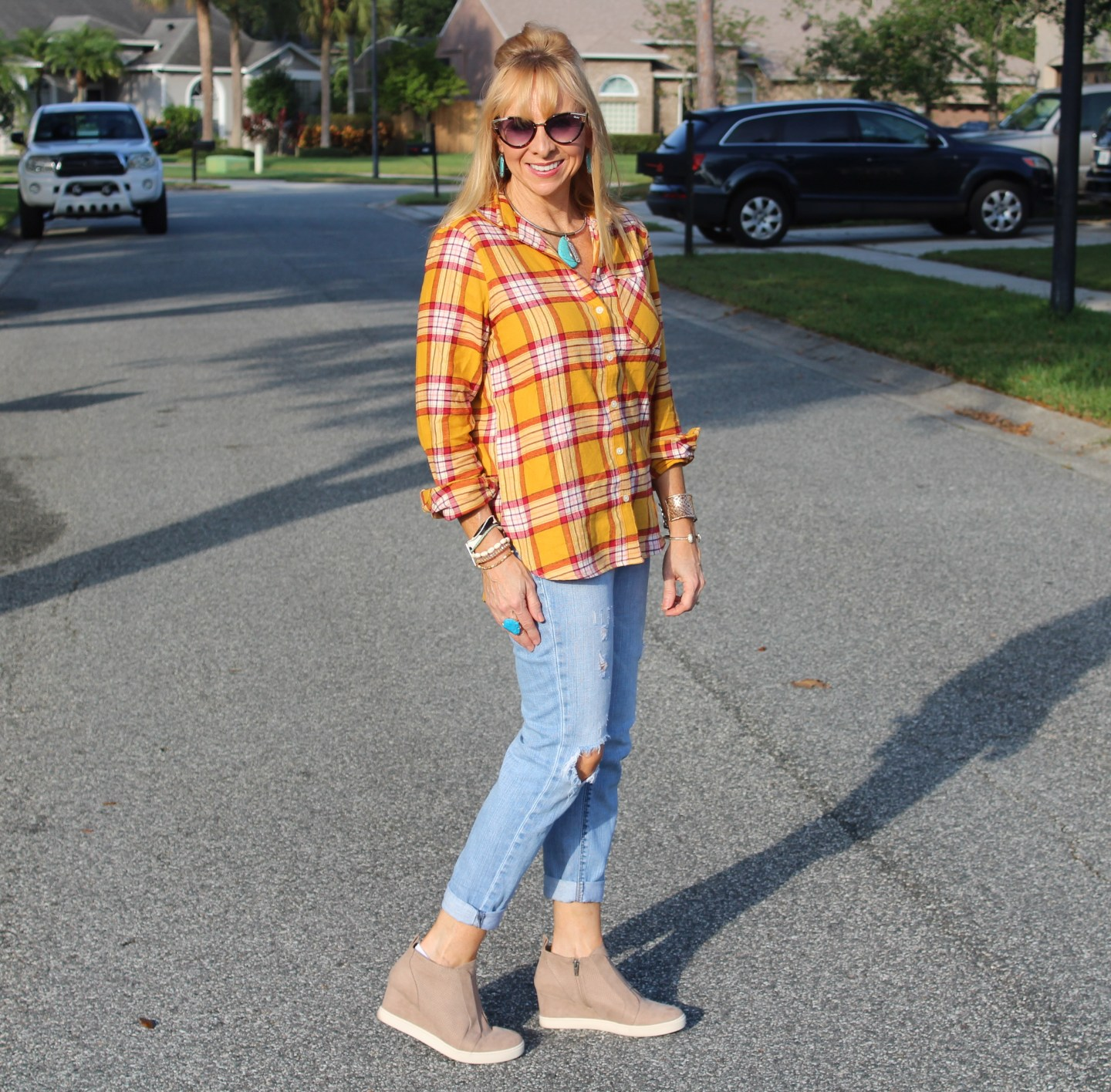 Old Navy Flannel + Distressed Denim + Target Wedge Sneakers