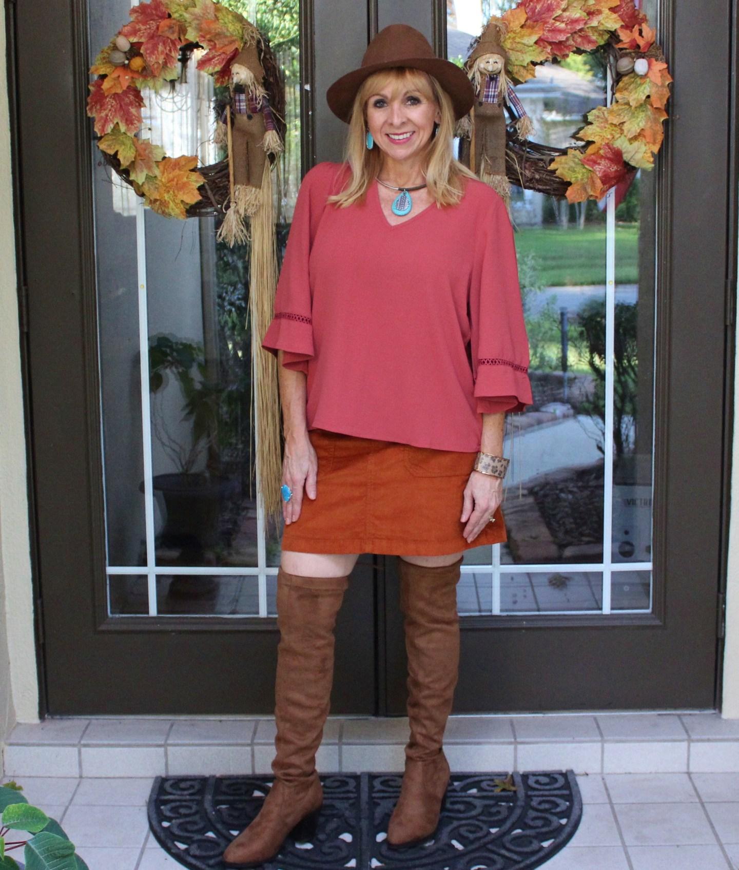 Rust blouse + Corduroy Skirt + OTK boots + Boho Hat