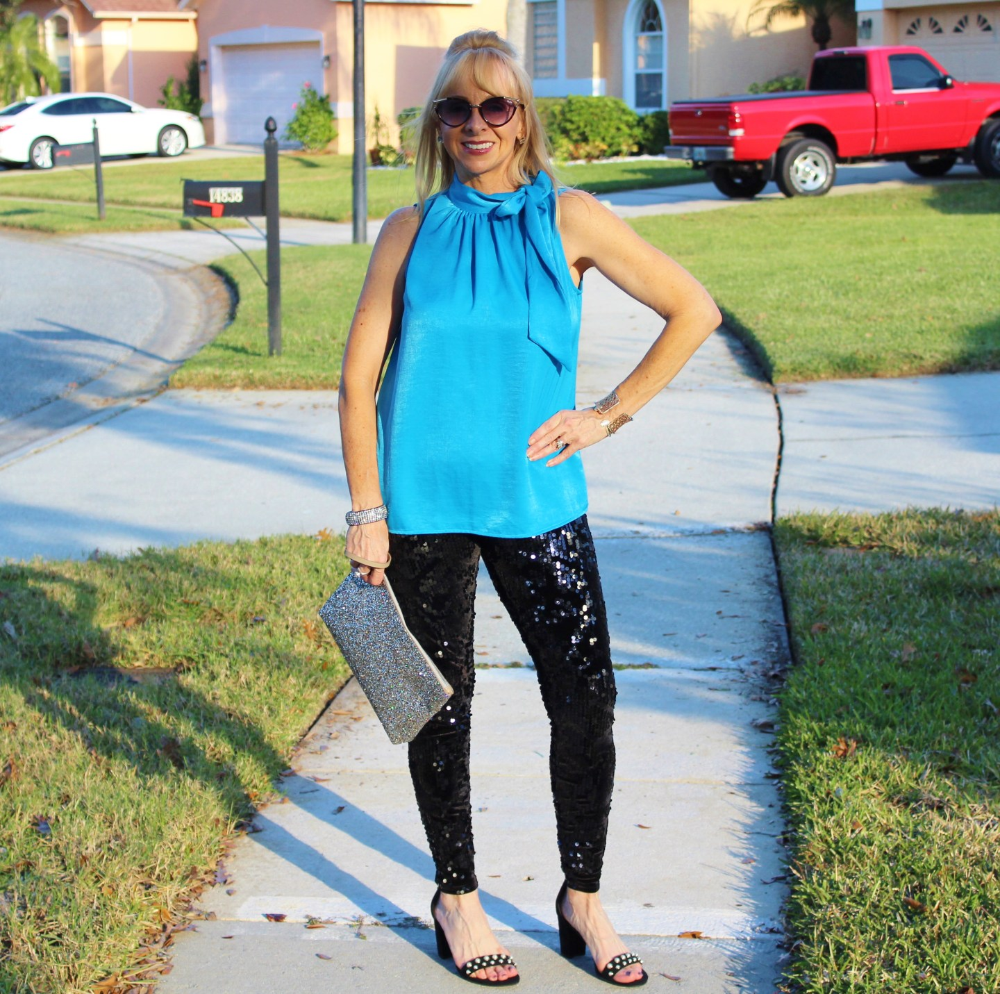 Sequin leggings + Blue Blouse