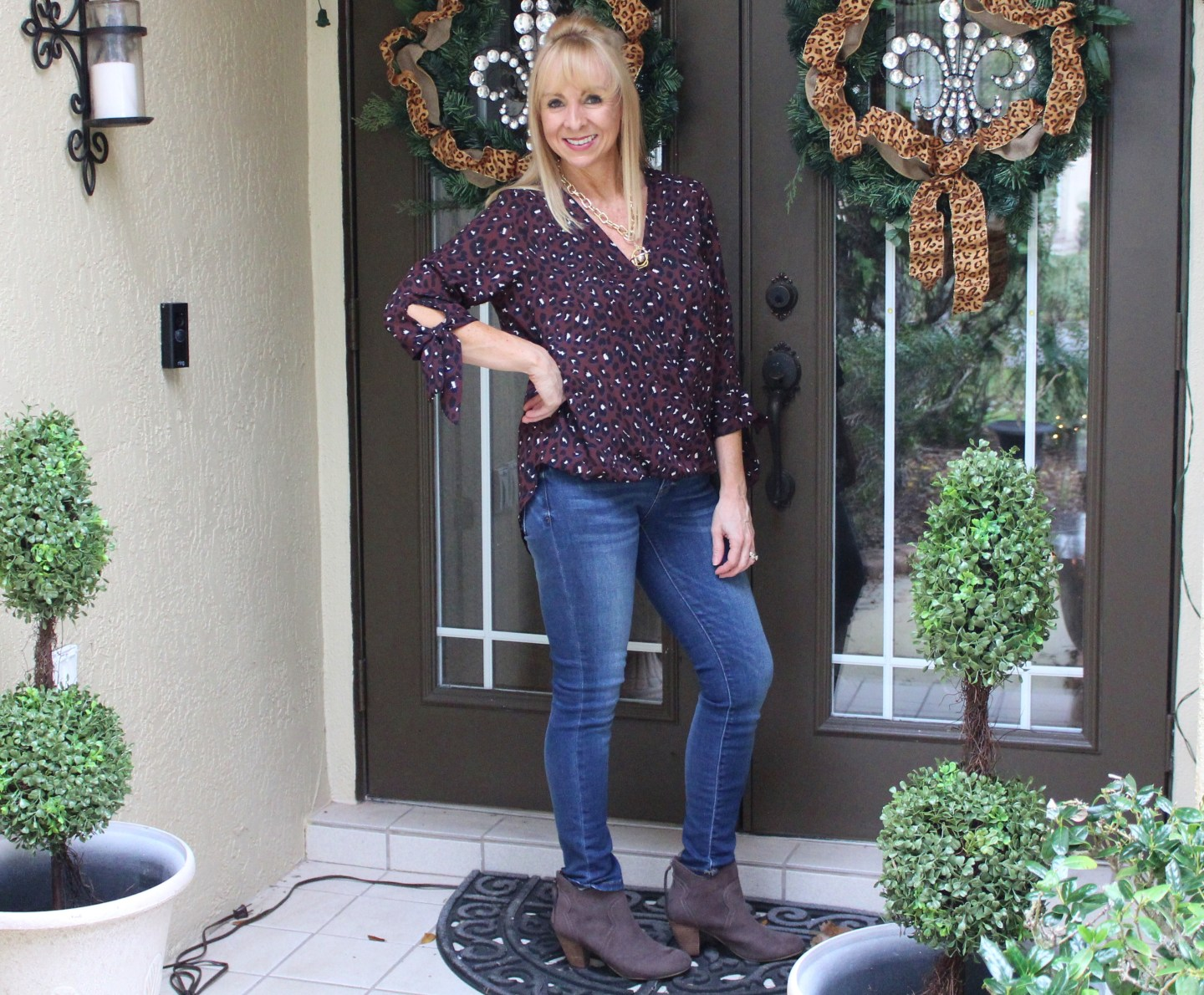 Leopard Wrap Top + Jeans + Booties