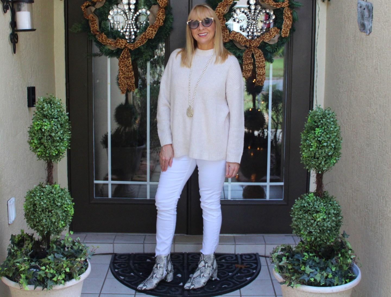 Cream Sweater + White Denim + Snake Print Booties