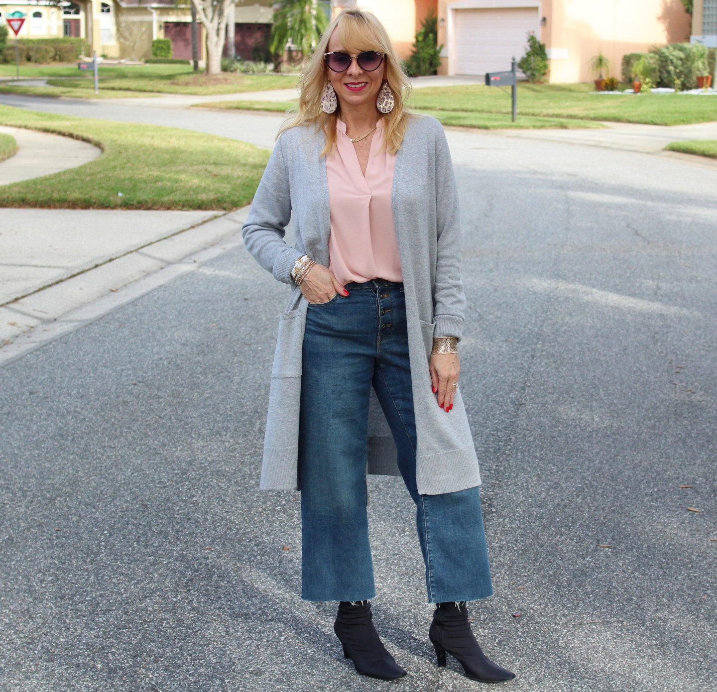 Long Cardigan + Wide Leg Cropped Denim