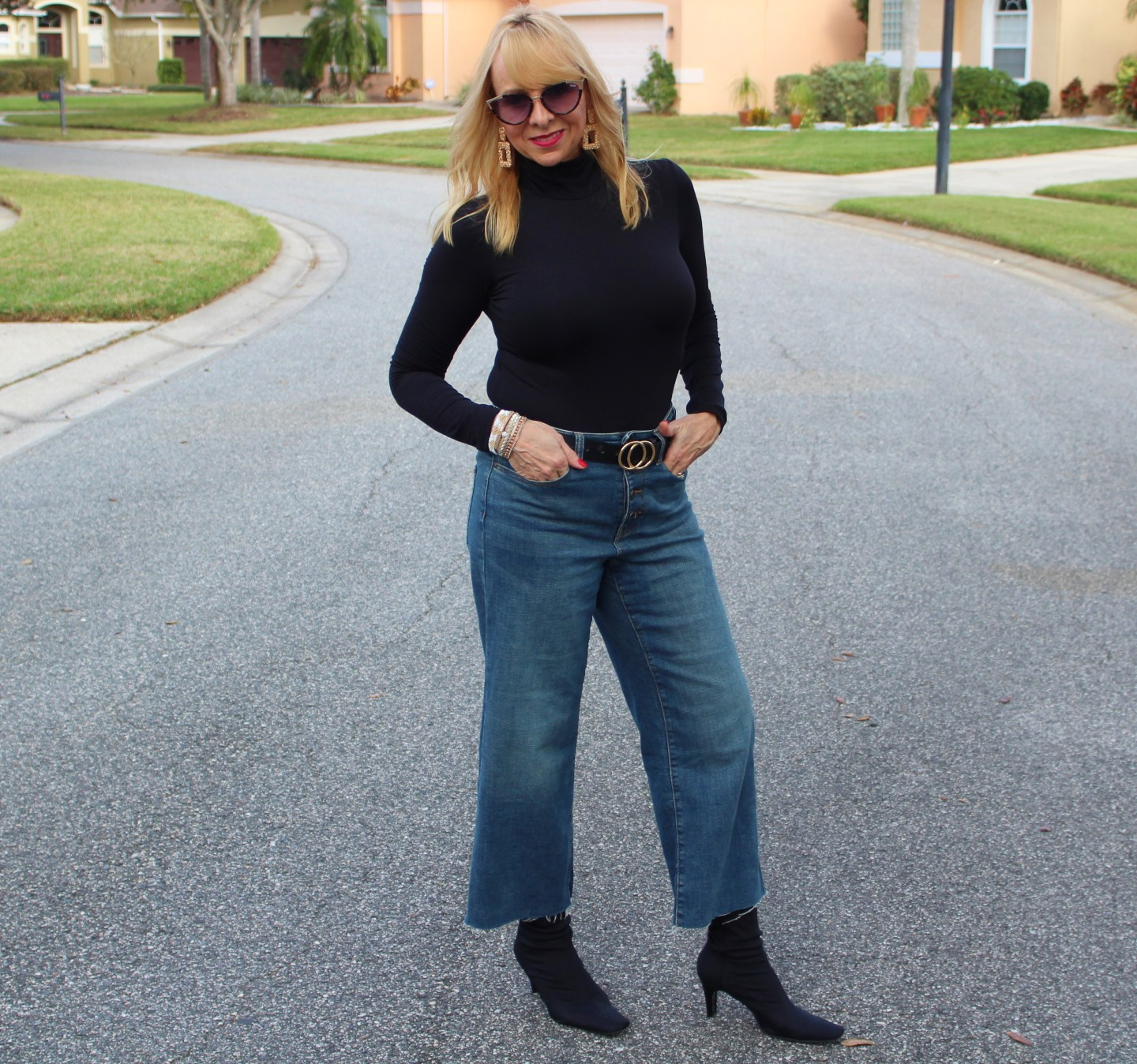 Black Bodysuit + Wide Leg Cropped Denim