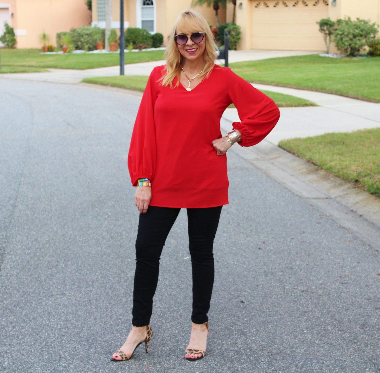 Red Blouse + Black Denim + Leopard Heels