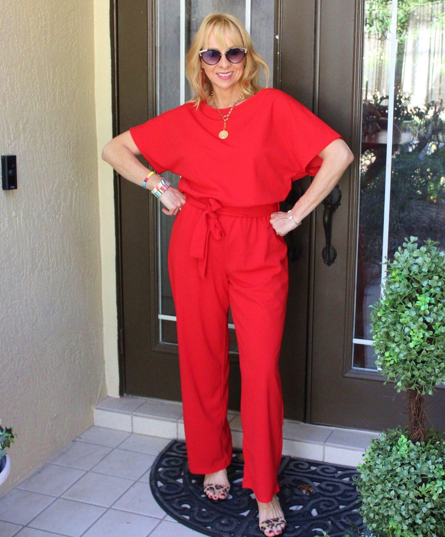 Red jumpsuit + Leopard heels