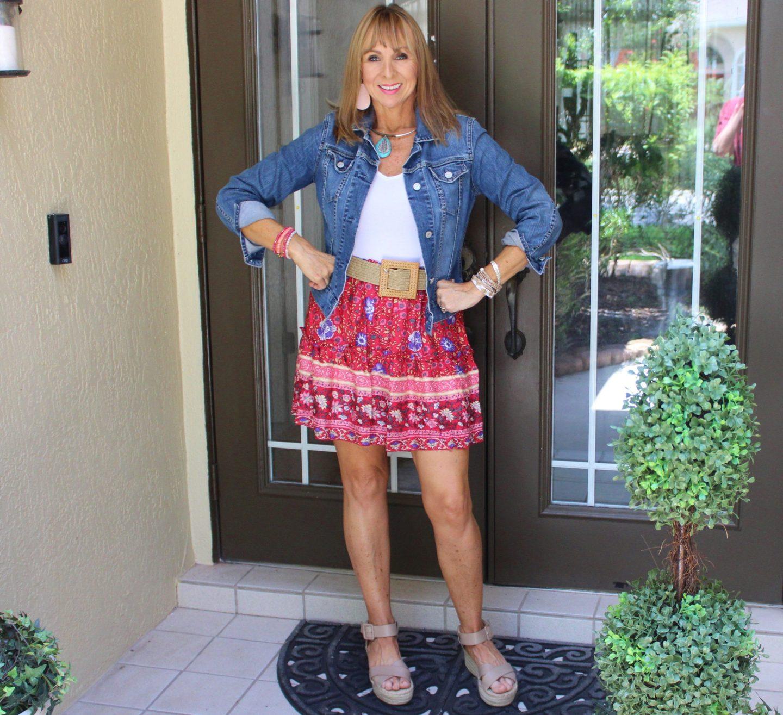 Denim Jacket + Bodysuit + Short Skirt