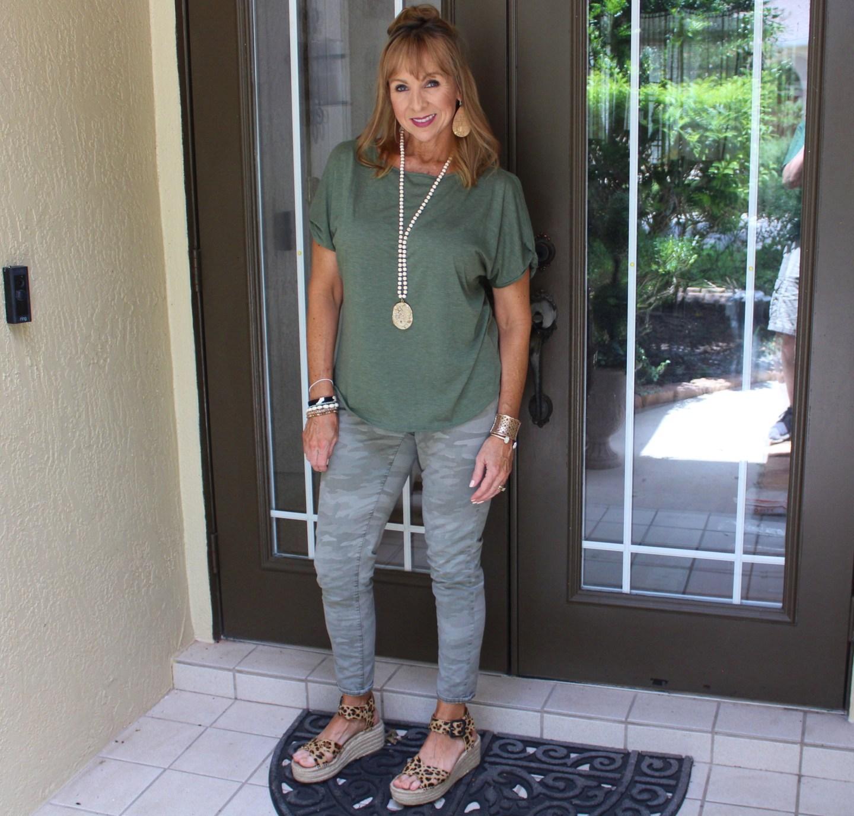 Camo pants + olive shirt