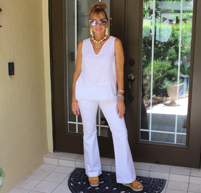White Tank + White Flare Leg Pants