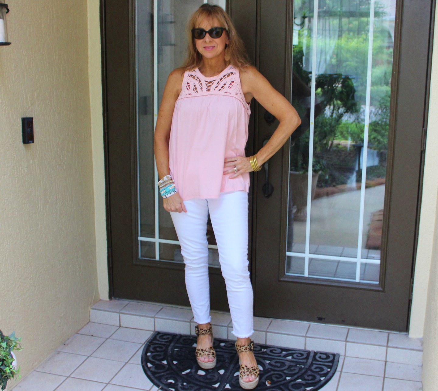 Blush macrame top + white denim + leopard wedges