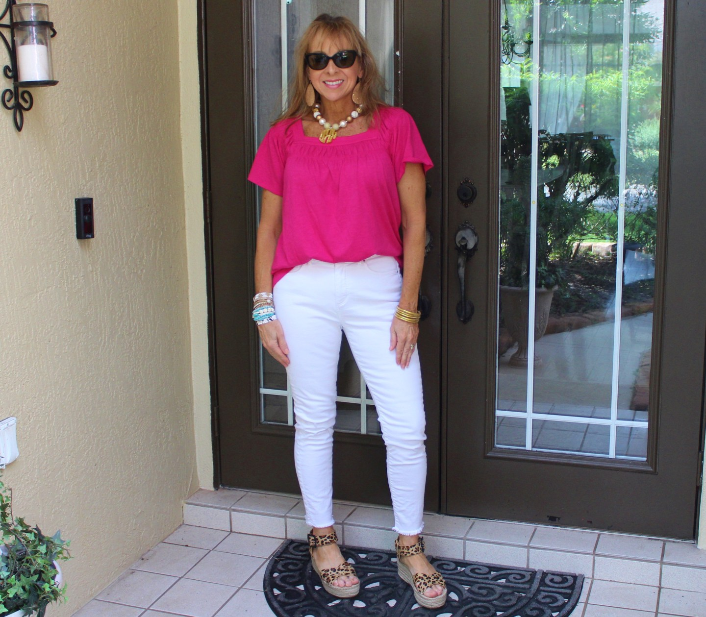 Magenta Top + White Denim + Leopard Wedges + Monogram necklace