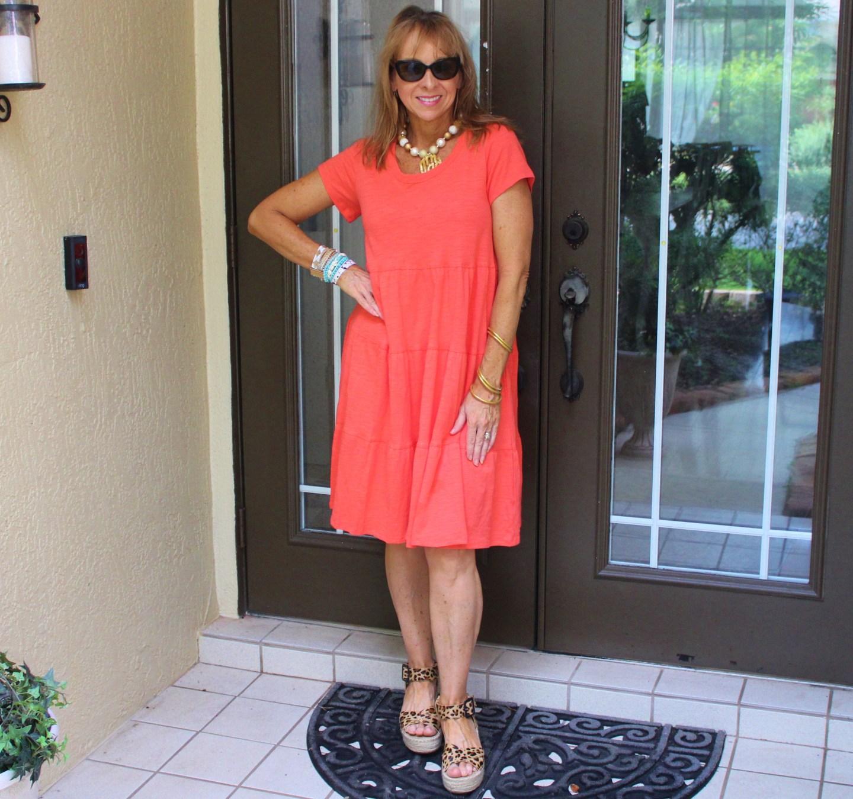 Orange tiered dress + Leopard wedges