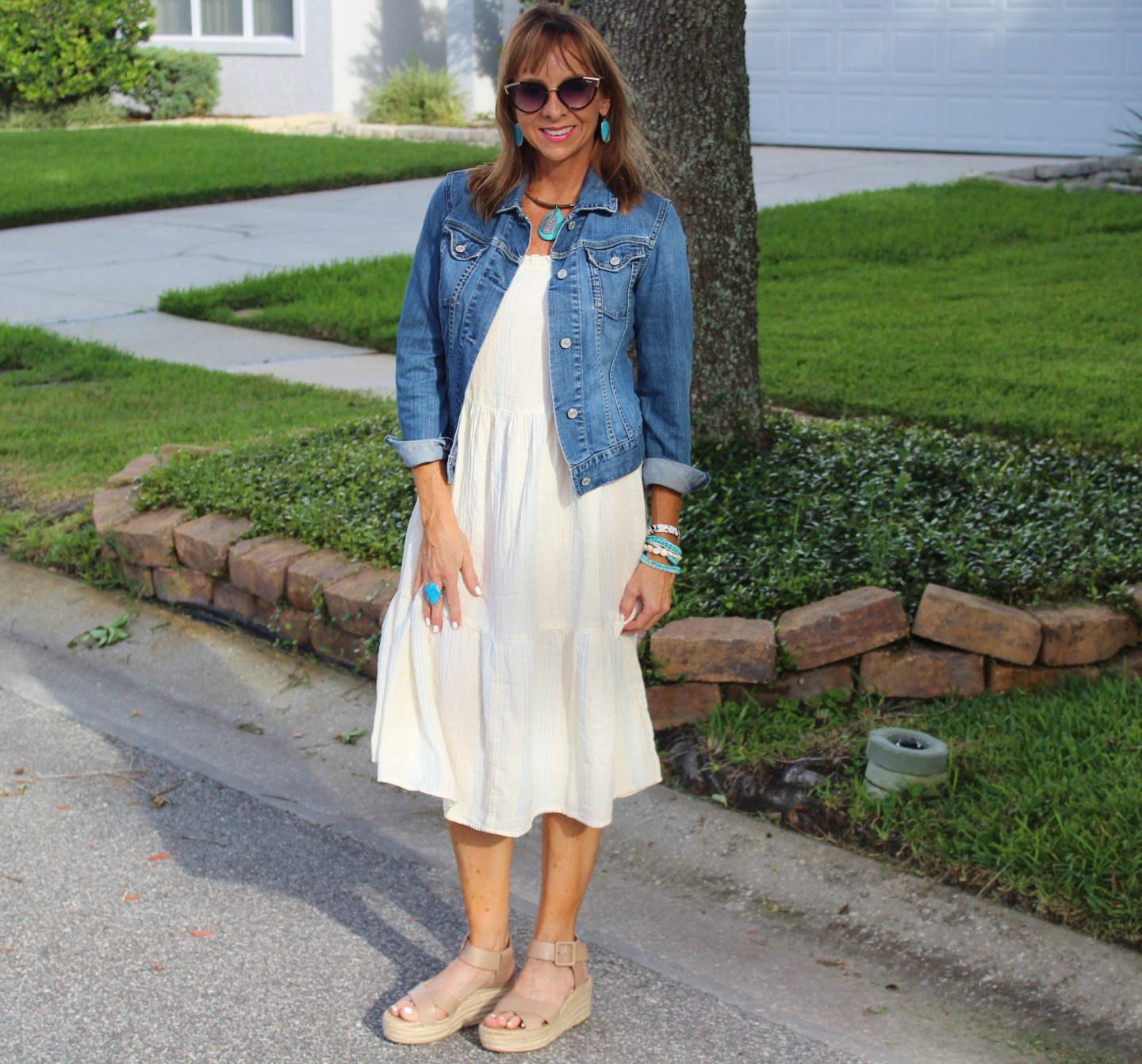 Walmart sundress + denim jacket