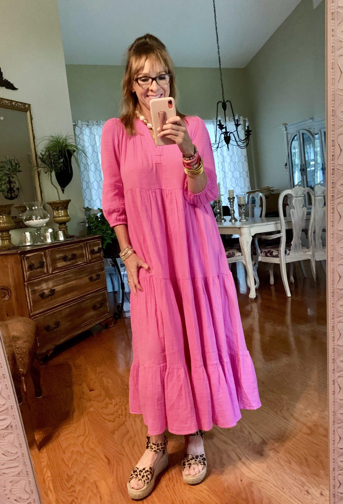 Pink Dress + Leopard Wedges