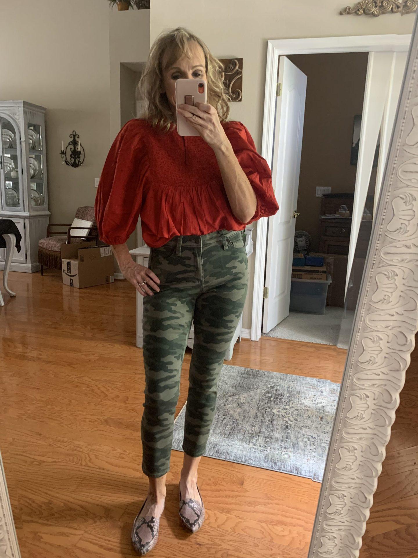 Camo Pants + Red Shirt