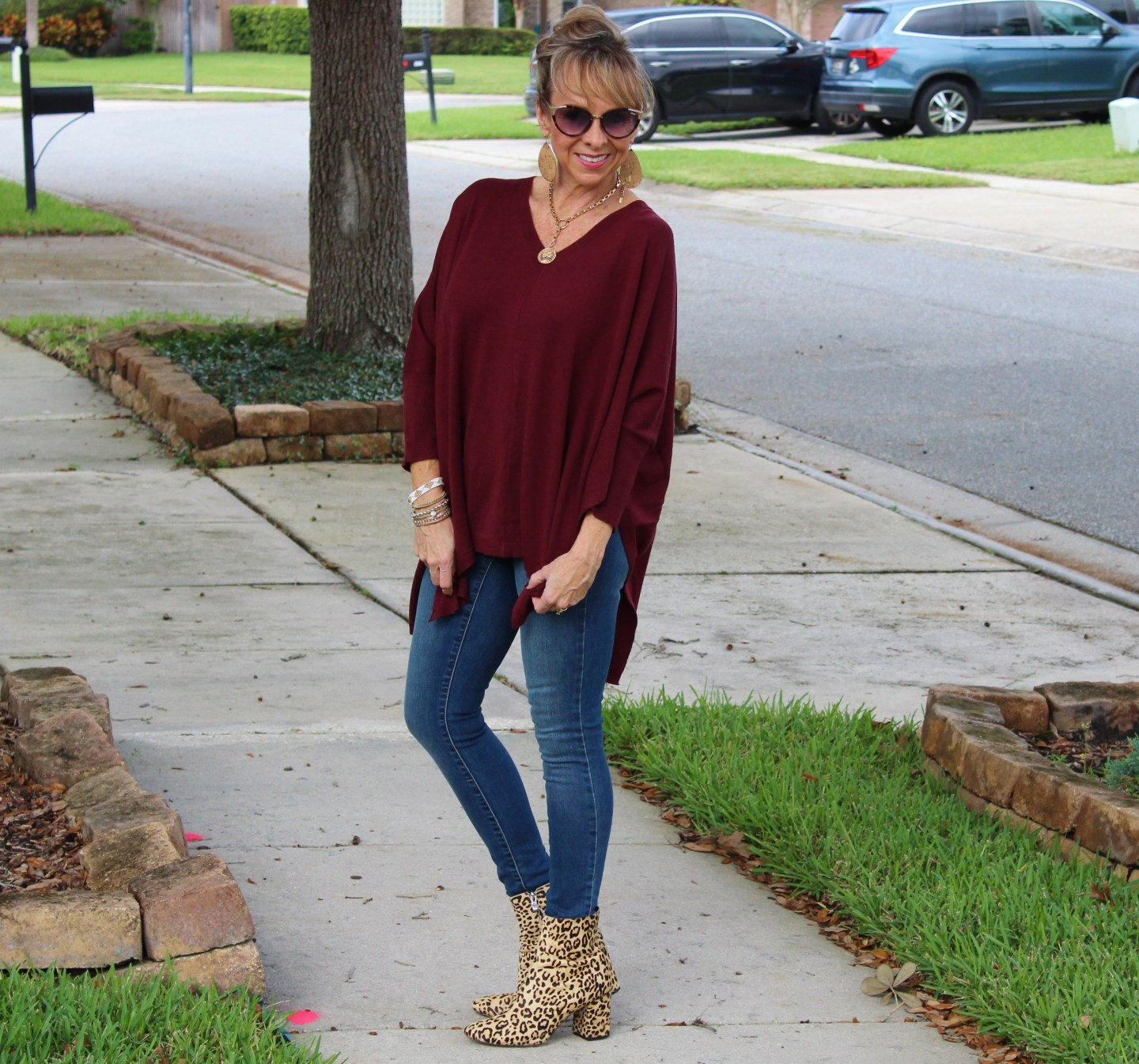 Poncho + denim + leopard booties