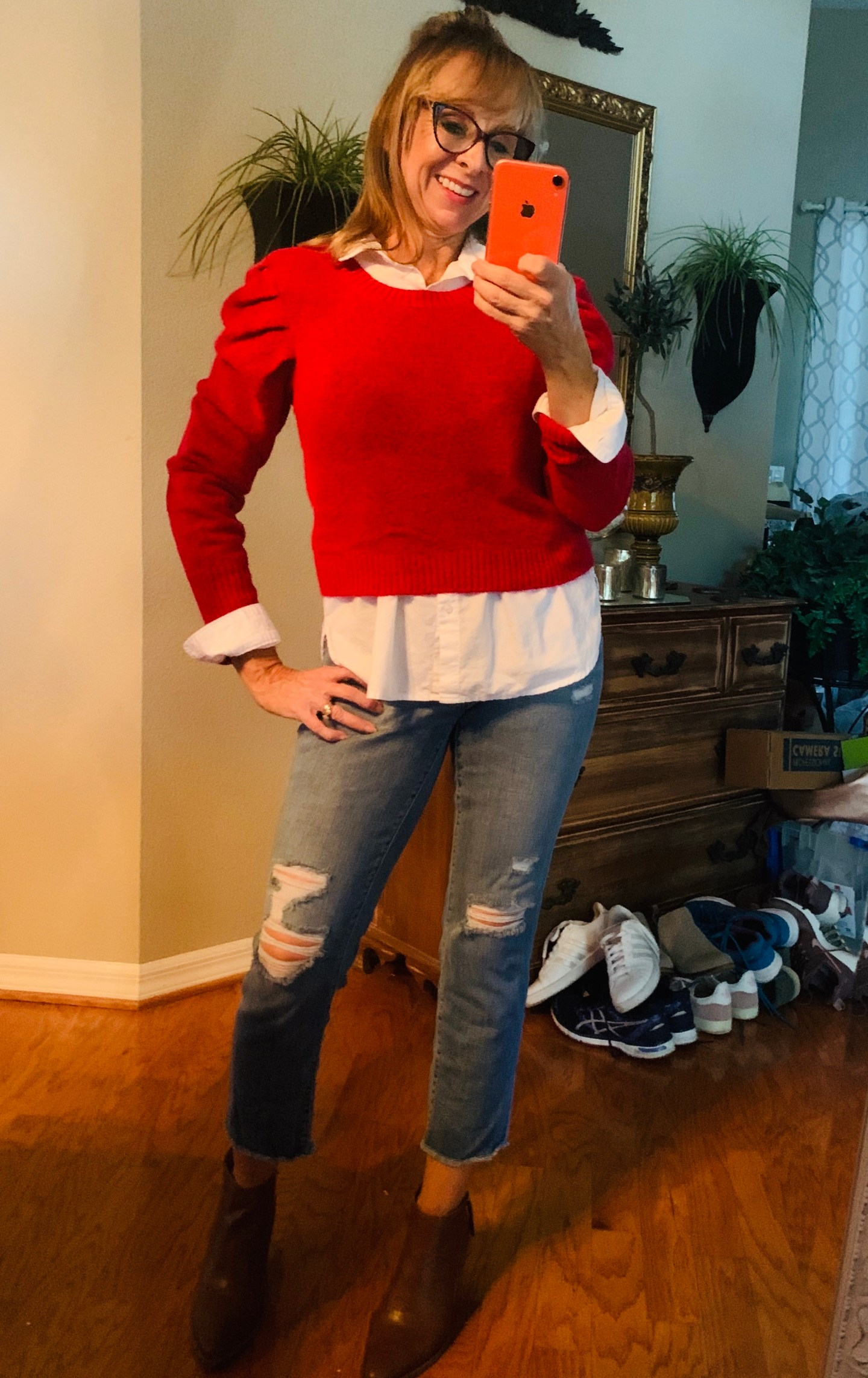Red Cropped Sweater + Distressed Denim