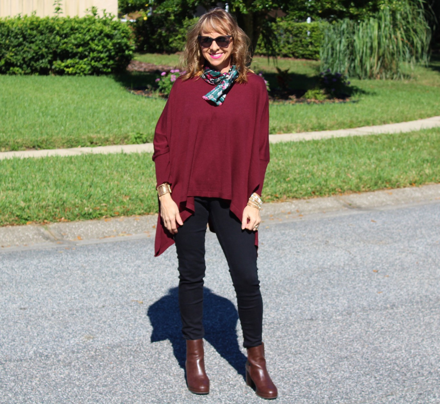 Poncho + Black Jeans + Silk Scarf + Boots