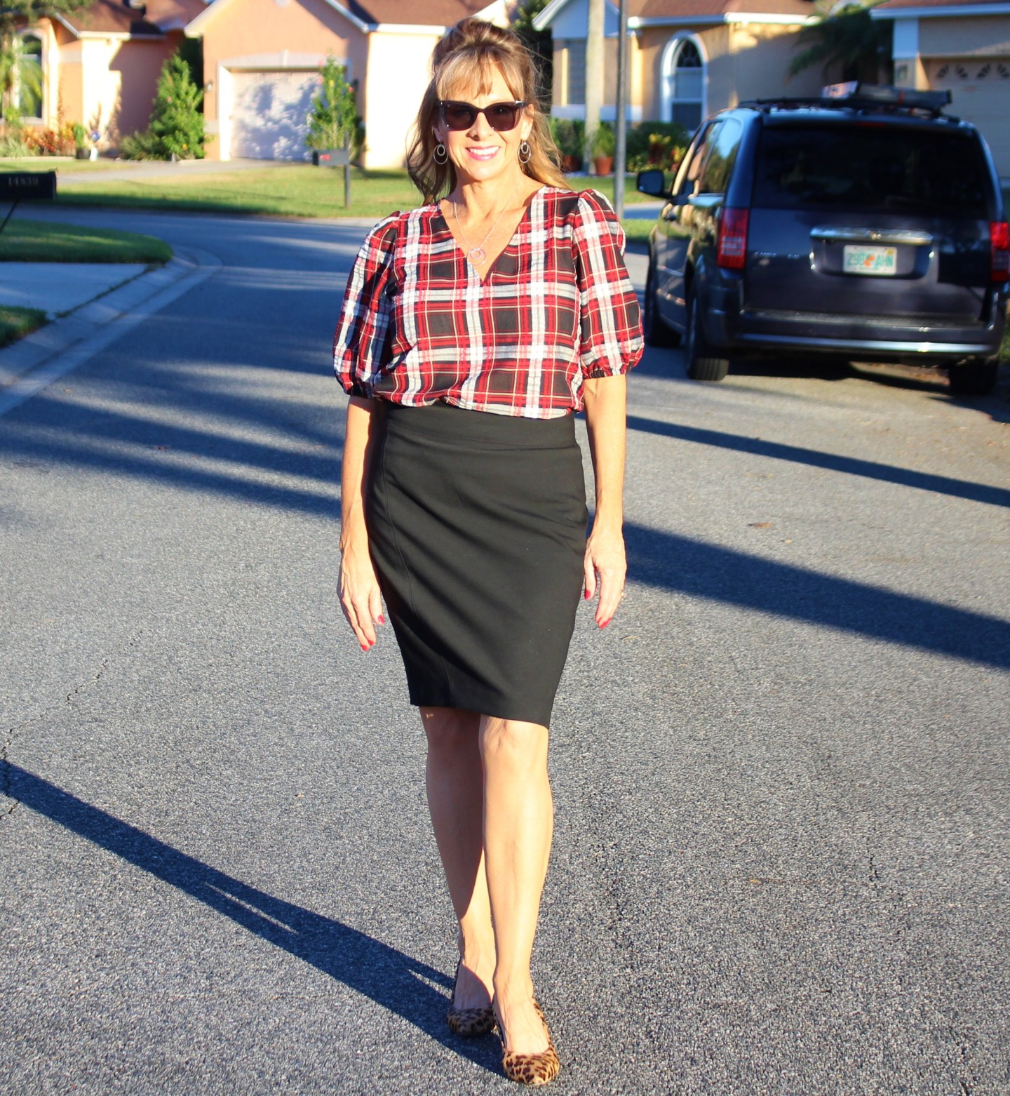 Loft Plaid Puff Sleeve Blouse + Black Pencil Skirt + Leopard Pumps
